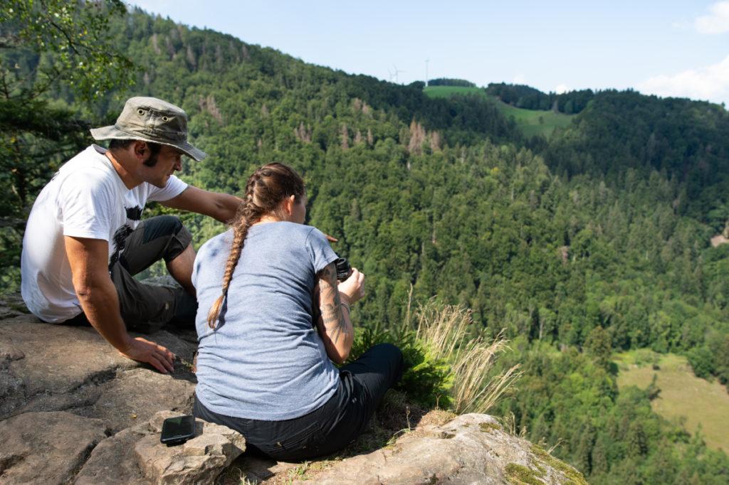 Bei toller Aussicht erklärt der Guide die Geschichte der Besiedlung des Bannwalds.